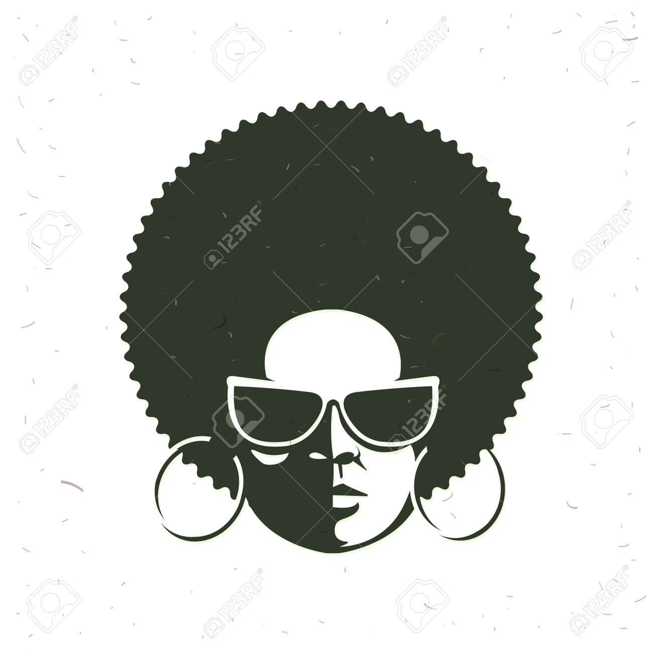 Front View Portrait Of A Black Woman Face With Sunglasses Vintage