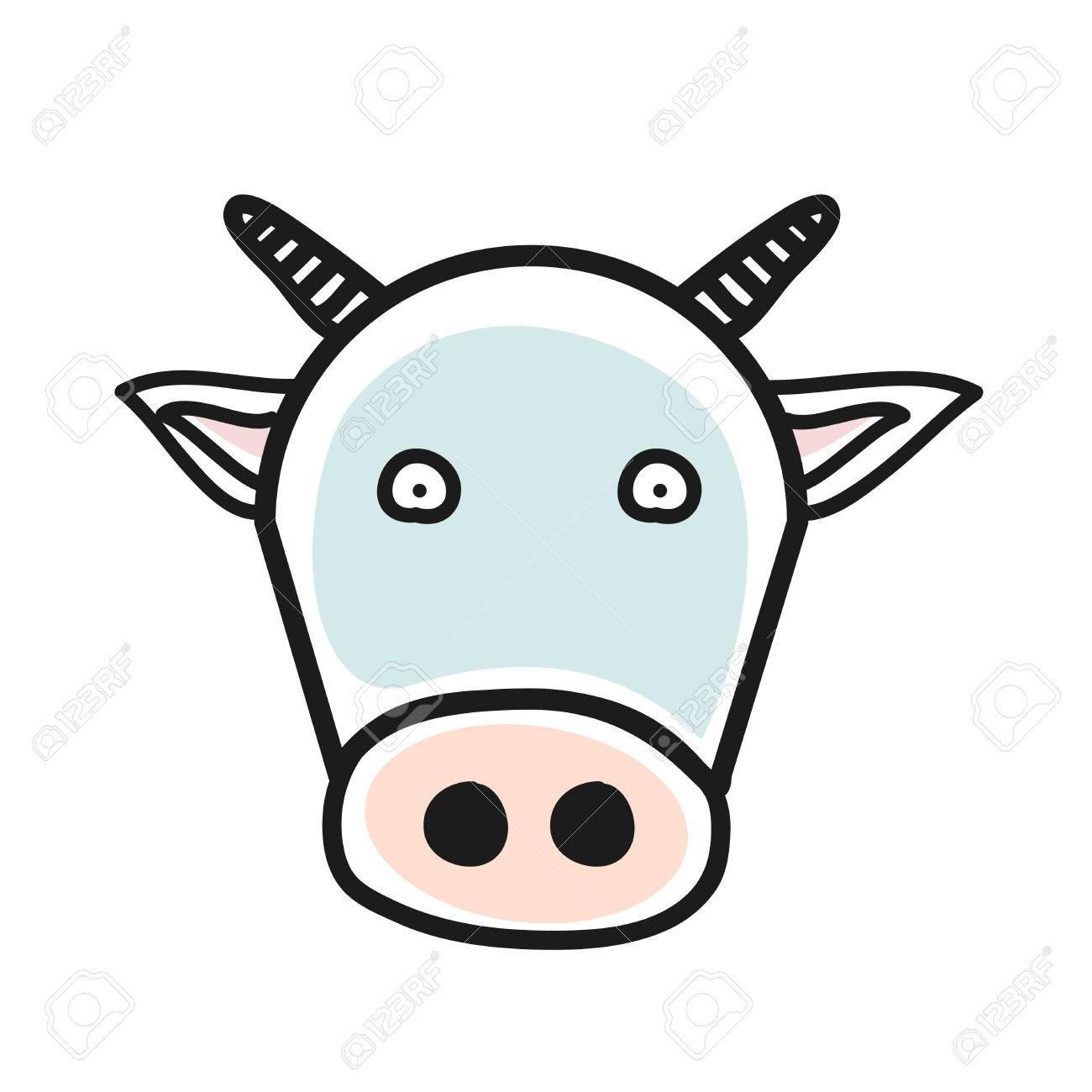 Cartoon Animal Head Icon. Cow Face Avatar For Profile Of Social ...