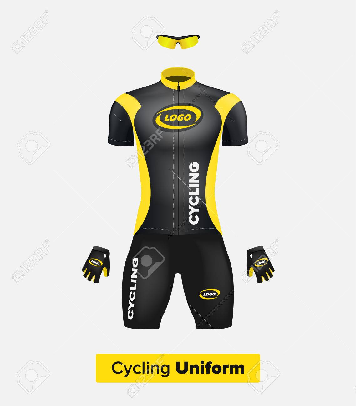 Realistic Vector Cycling Uniform Template. Black And Yellow ...