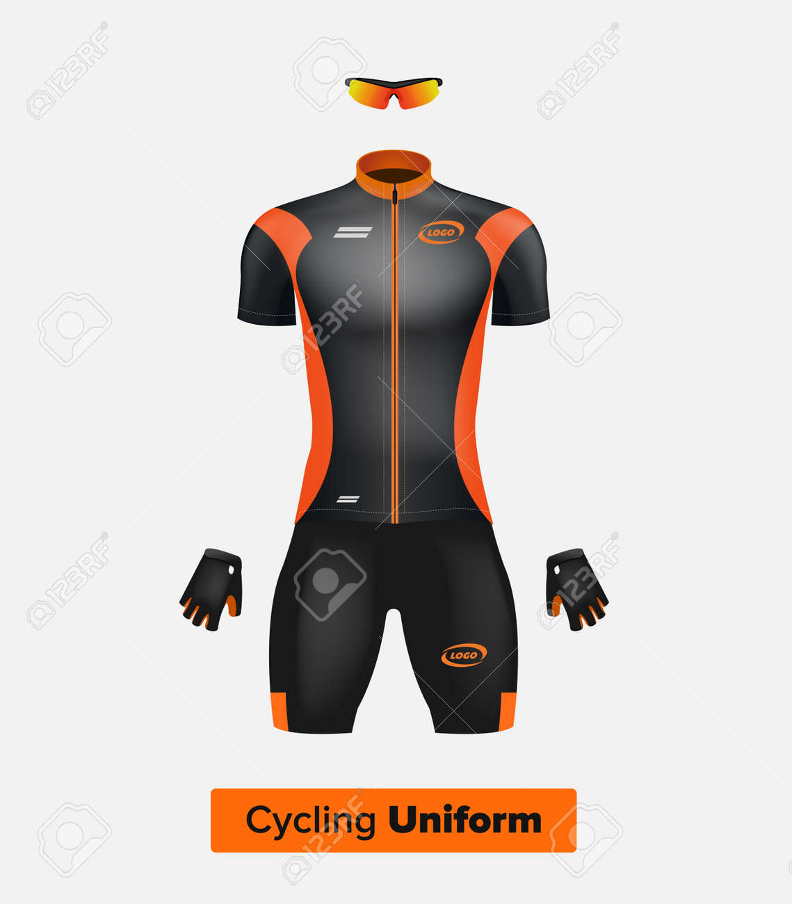 realistic vector cycling uniform template black and orange