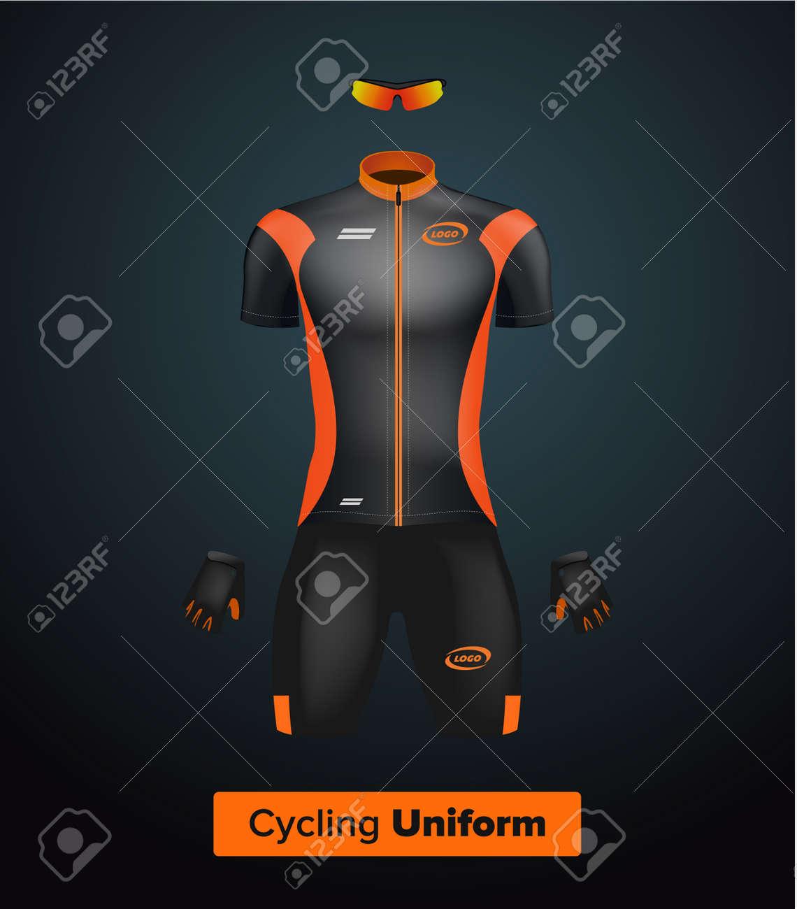 Realistic vector cycling uniform template. Black and orange. Branding mockup.  Bike or Bicycle ea69c7b37
