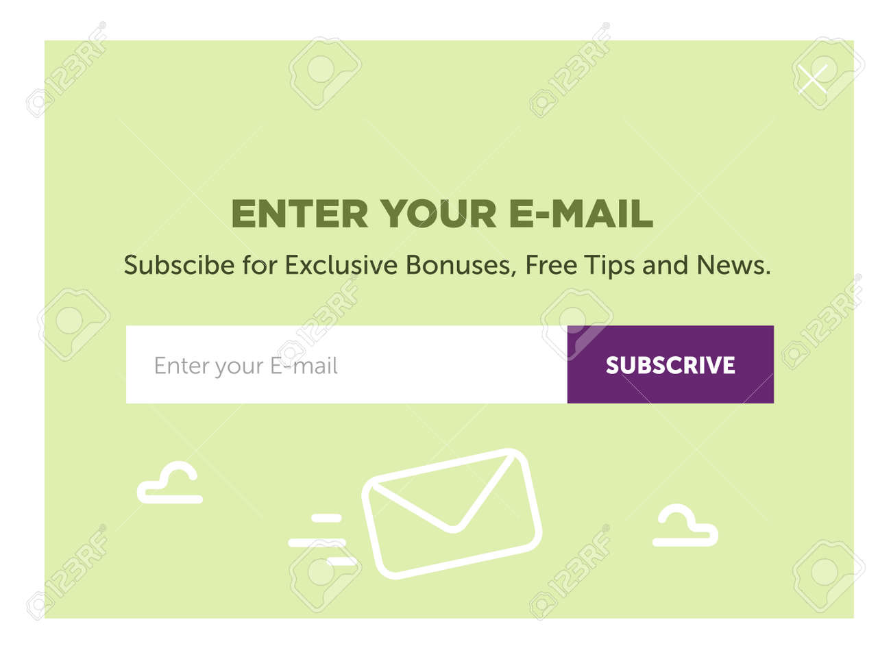 template for email subscribe  With envelopes