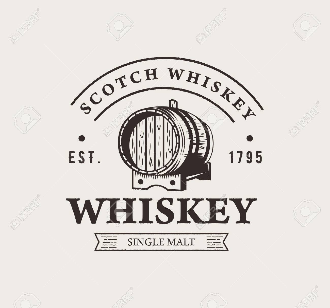 42e984afa06 Hand drawn whiskey logo. Typography monochrome hipster vintage label. For  flayer poster or t