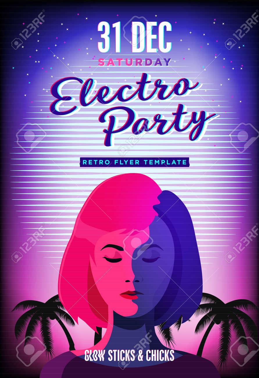 Electro Party Poster. Retro 80s Neon Background. Disco Flyer ...