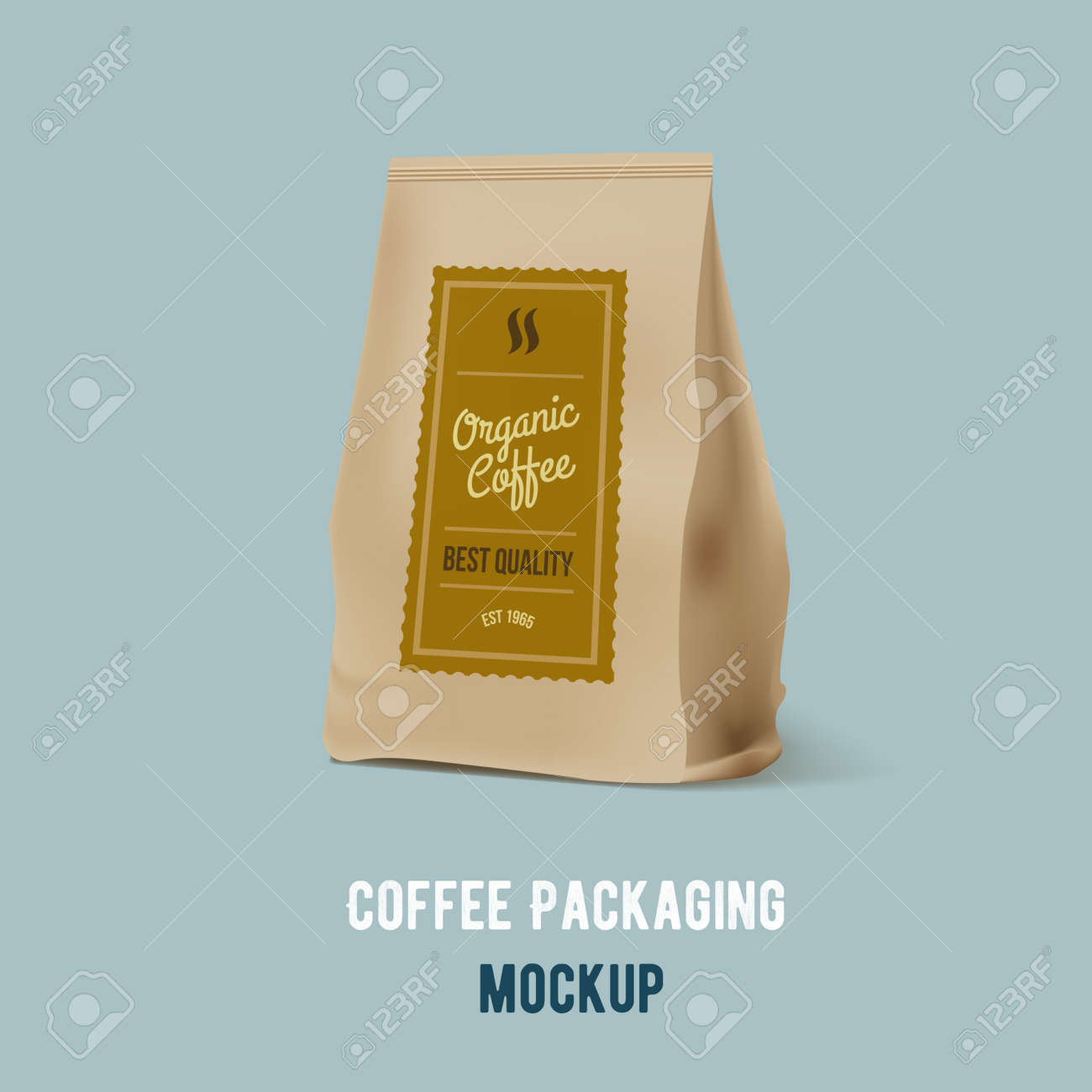 brown paper food bag package of coffee vector mockup template