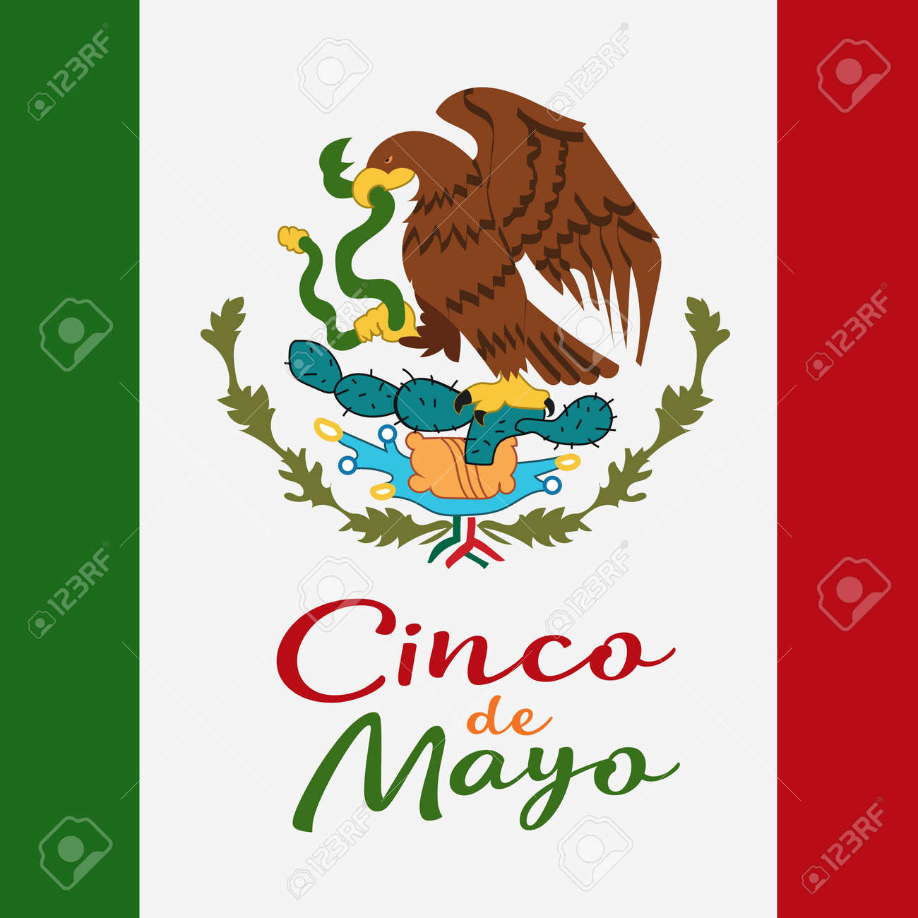 Cinco de mayo poster design symbol of the mexican flag eagle symbol of the mexican flag eagle with snake biocorpaavc Choice Image