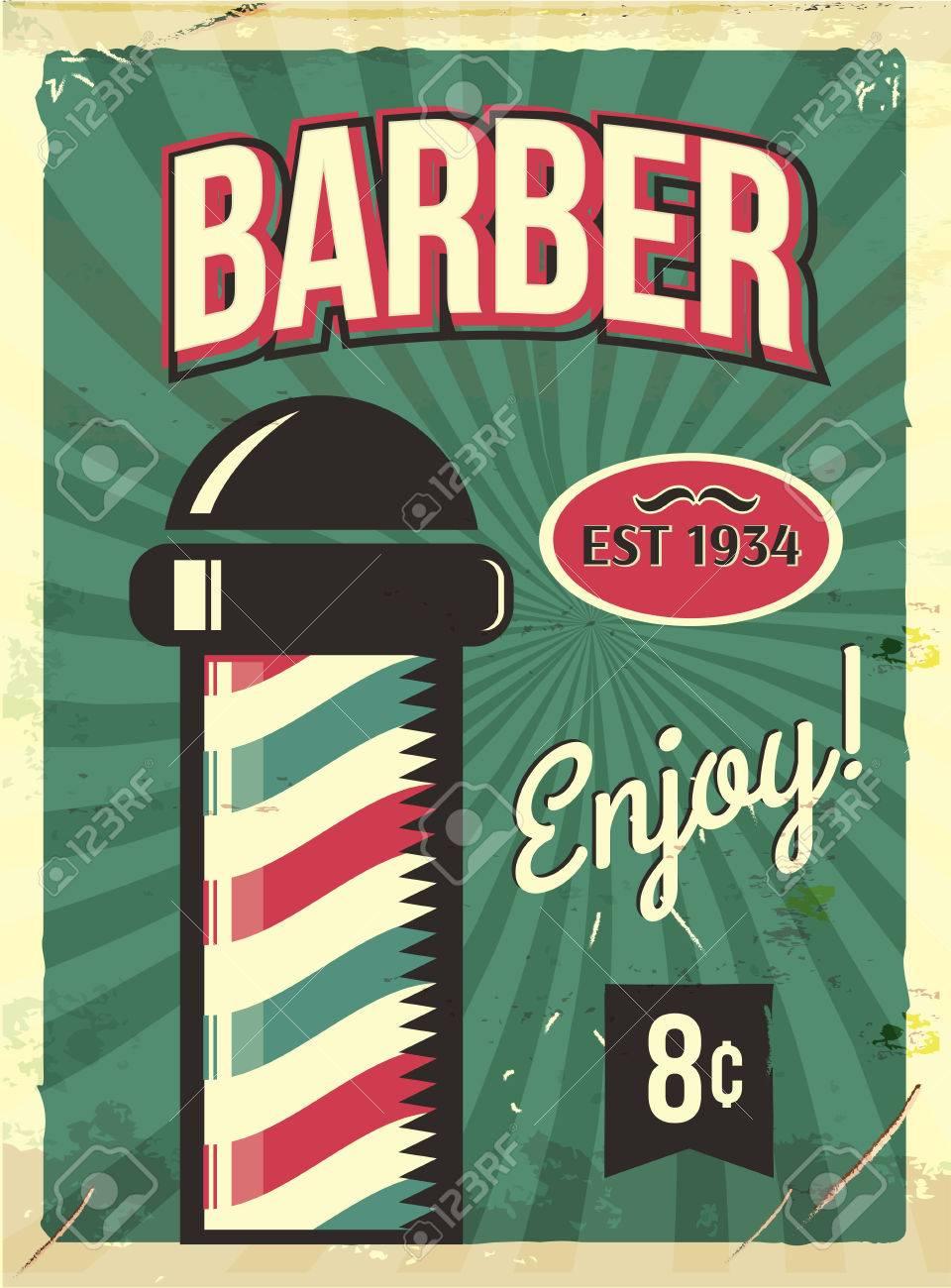 Grunge Retro Metal Sign With Barber Pole Barbershop Flyer Vintage Poster Old Fashioned