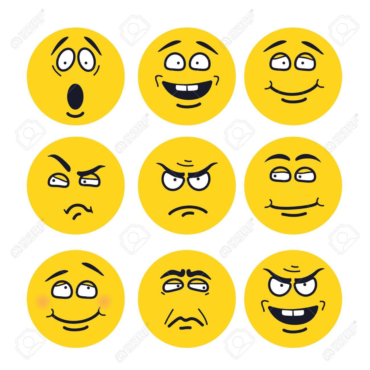 Caras De Dibujos Animados Con Expresiones Conjunto De Emociones