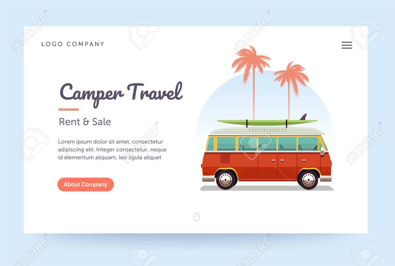 camper travel website template surfing retro van illustration