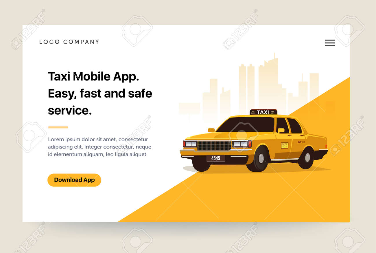 Taxi services mobile app website template  Retro yellow cab illustration