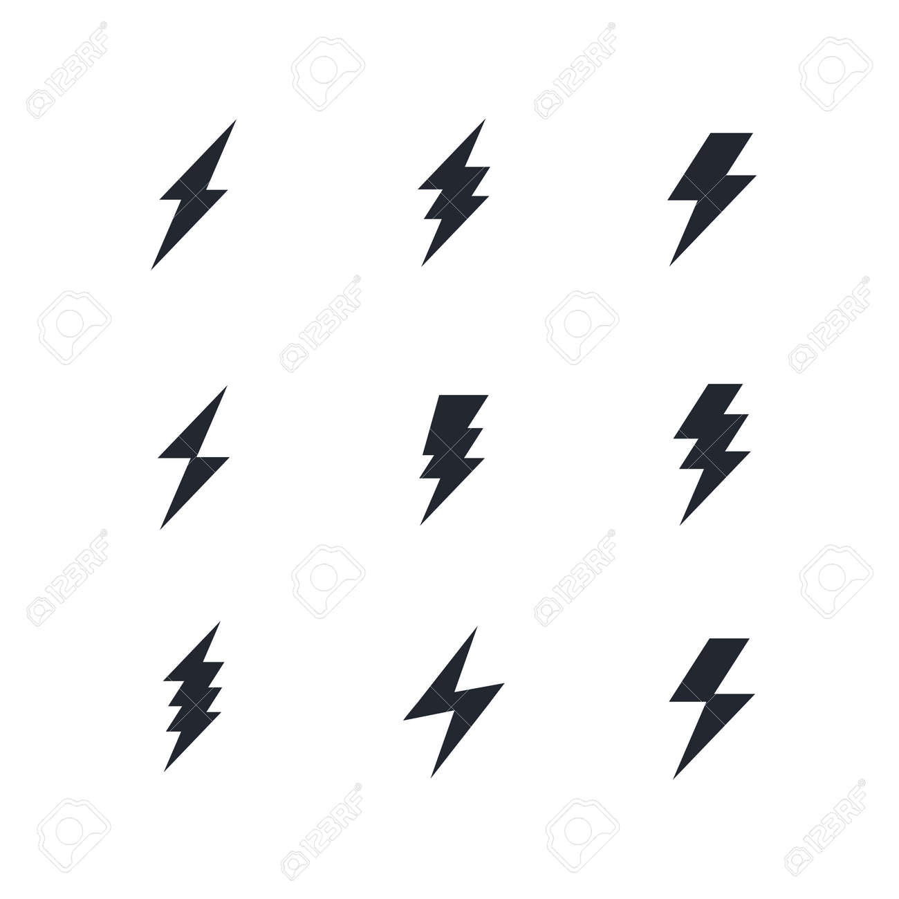 set of the bolts of lightning vector minimalistic flash icons royalty free cliparts vectors and stock illustration image 105152996 set of the bolts of lightning vector minimalistic flash icons