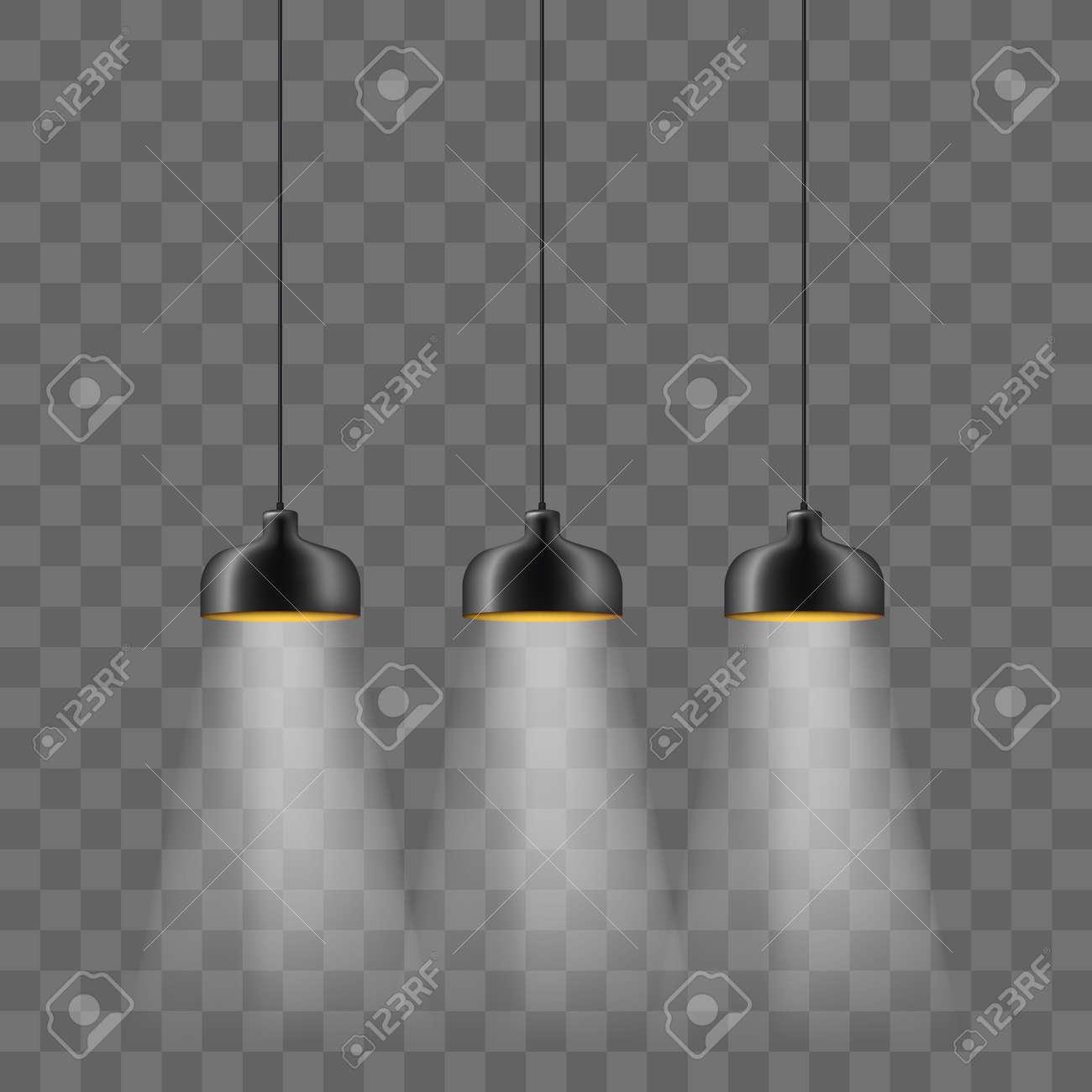 Modern black metallic lamp-shade electric illumination set. Loft ceiling lights isolated on the transparent background. Minimalistic interior design - 111840026