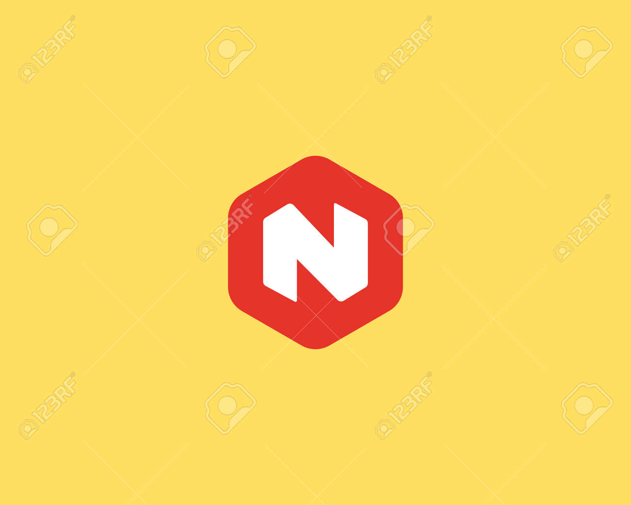 abstract letter n logo design template colorful creative hexagon