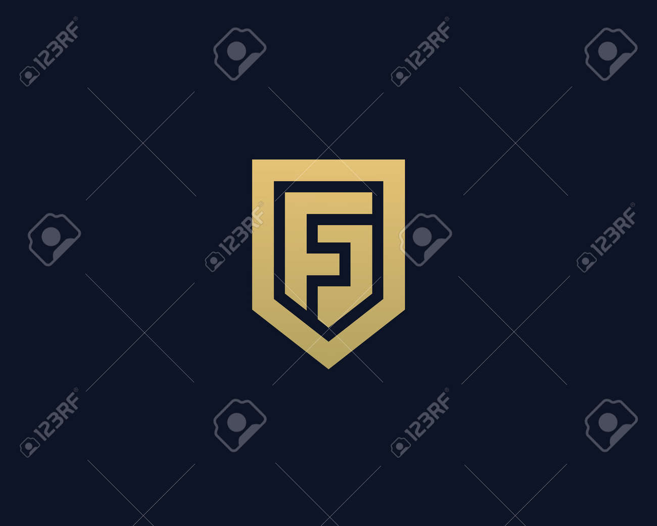 abstract letter f shield logo design template premium nominal