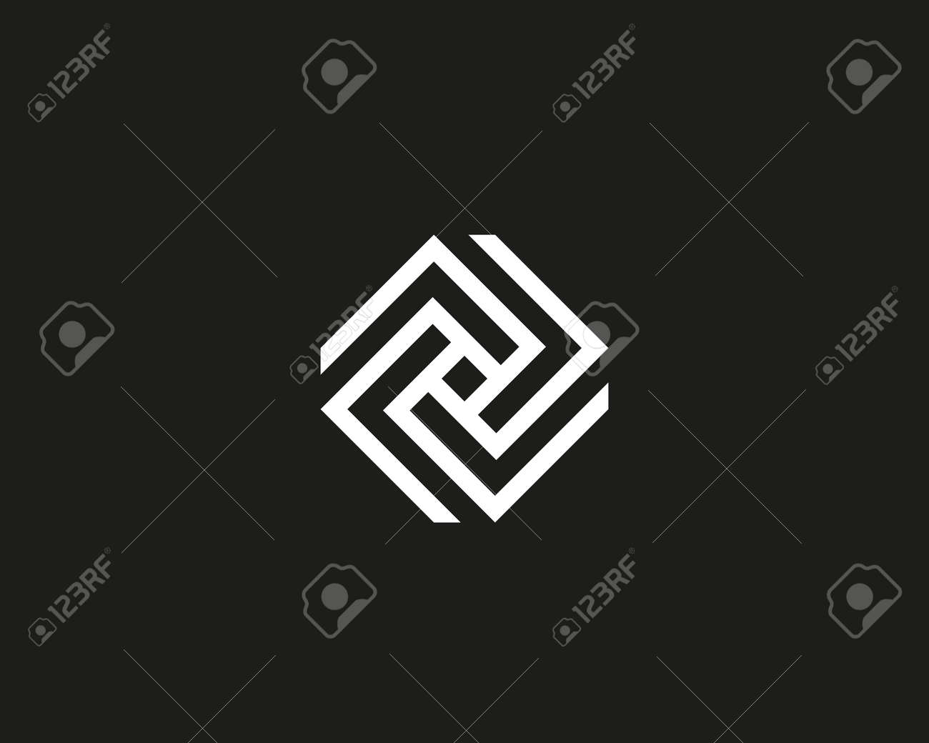 Line art cube logo design template  Abstract geometric logotype