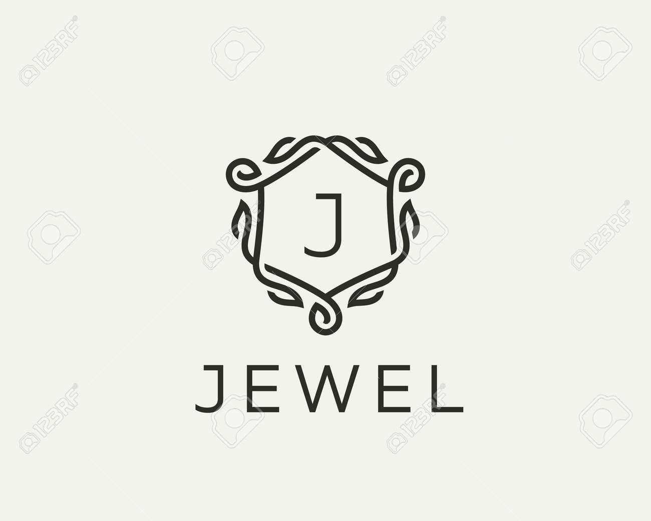 Premium Linear Shield Monogram Letter J Logotype Elegant Crest Royalty Free Cliparts Vectors And Stock Illustration Image 121672737