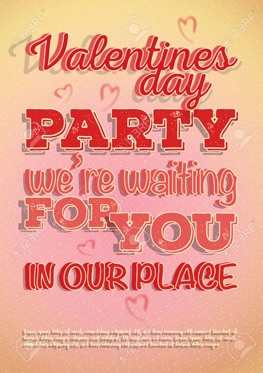 Vector poster invite to Valentines Day party with a hearts and beautiful texture on a letters. Design in a light pink-orange colors and patterns on background. - 126201239