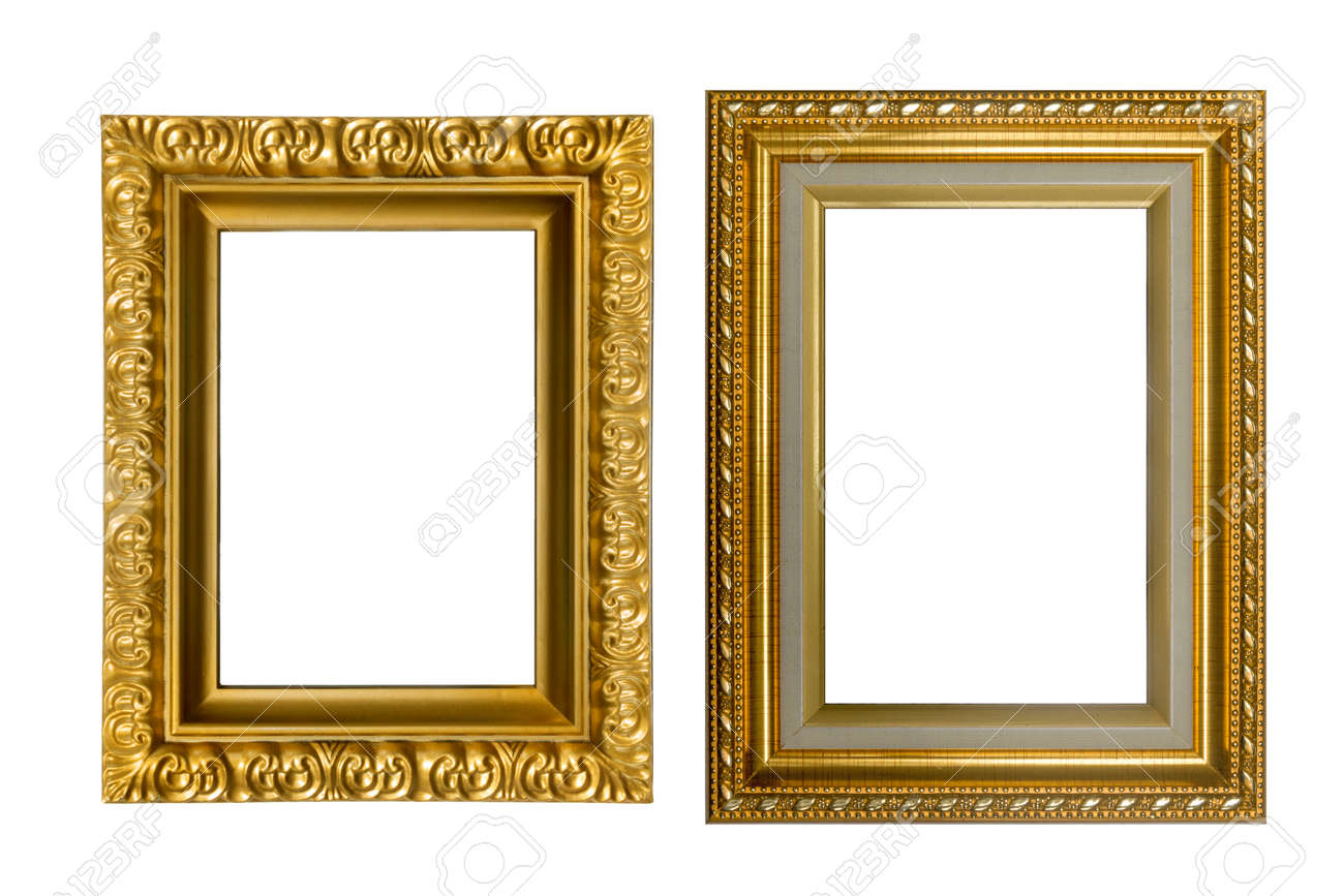 555b4f194ce Beautiful gold frames isolated on white background Stock Photo - 46965459