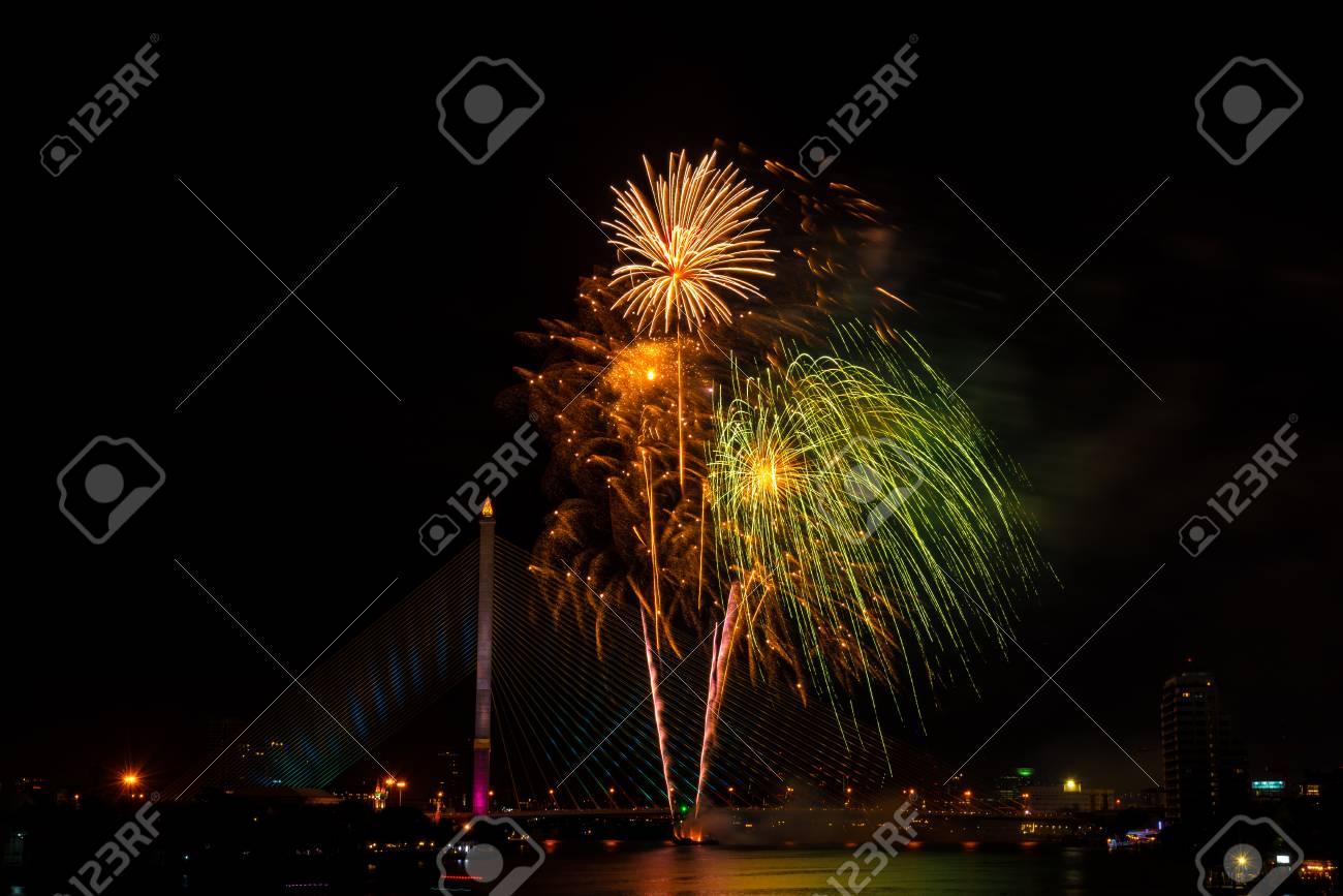 Hermoso Colorido Fuegos Artificiales Para La Celebracion Feliz Ano