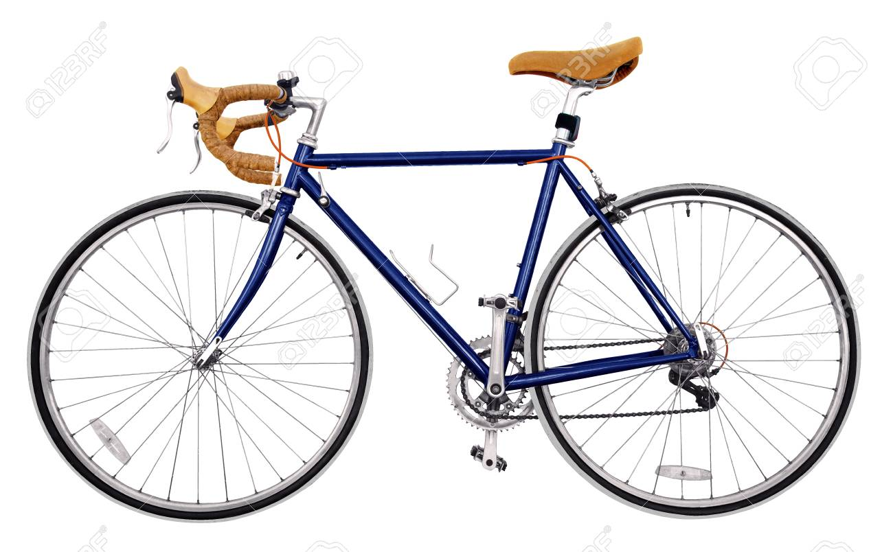 96697b7f5bf Stock Photo - vintage race road bike /navy blue sky bicycle classic style,  modified spare parts, two tone color bicycle wheels,light brown Leather bike  on ...