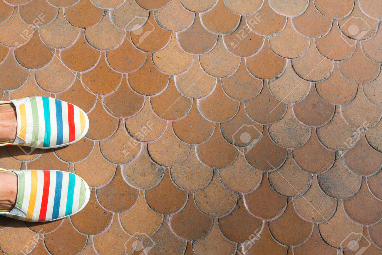 Colorful Women S Shoes On Brown Clay Terrazzo Tile Floor