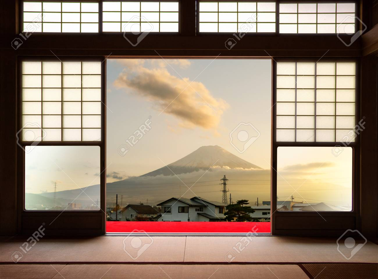 Traditional Japanese Indoor House And Paper Sliding Doors And