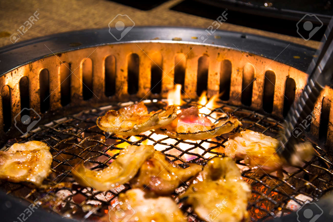 Meat Barbecue Charcoal Japanese Grill In Yakiniku Beef Grill Stock Photo Picture And Royalty Free Image Image 96608087