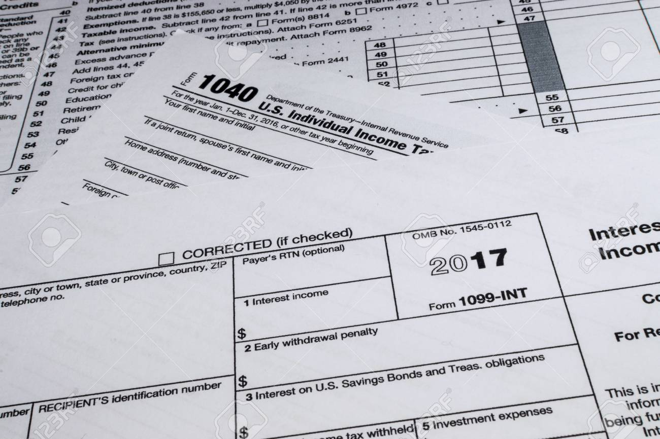 A Shot Of IRS Form 1099-INT: Interest Income Tax Form. Stock Photo ...