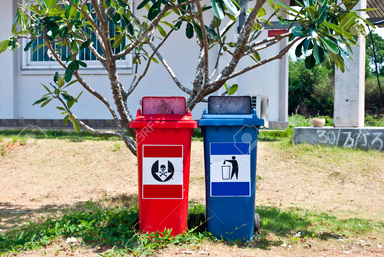 Red and blue recycle bins Stock Photo - 13619456