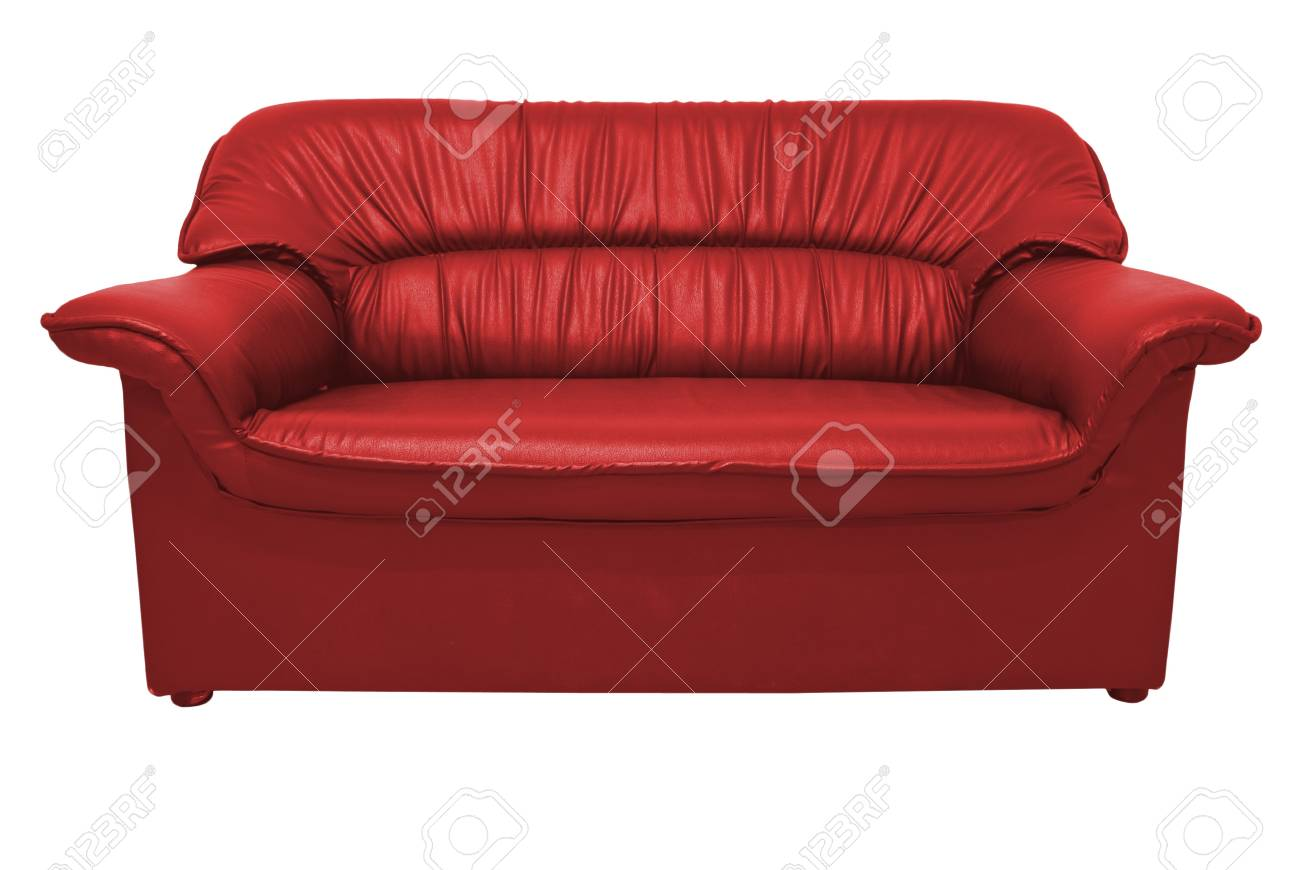 A modern red leather sofa isolated on the white