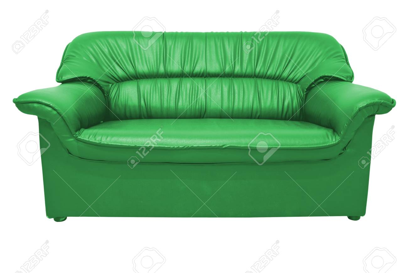 A modern green leather sofa isolated on the white