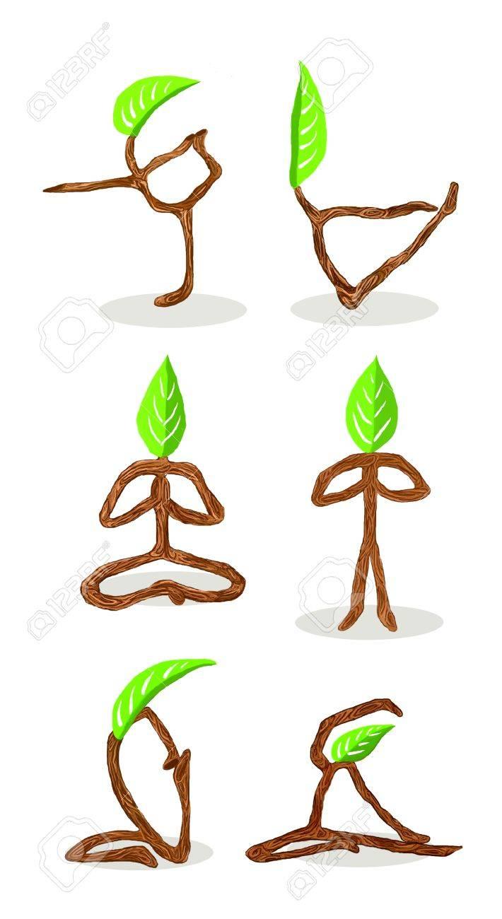 Baum-Karikatur Von Hand Gezeichnet Stil Yoga-Position Lizenzfreie ...