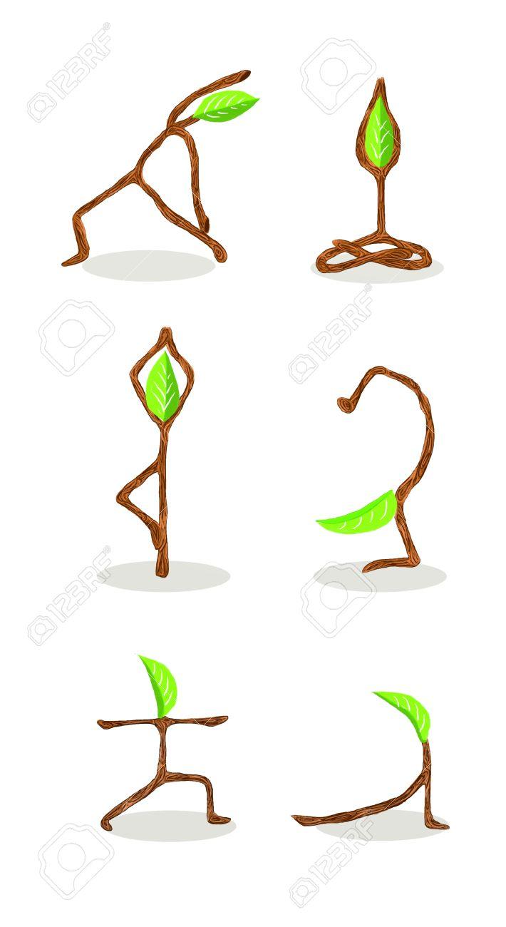 Baum-Karikatur Von Hand Gezeichnet Stil Yoga Position 2 ...
