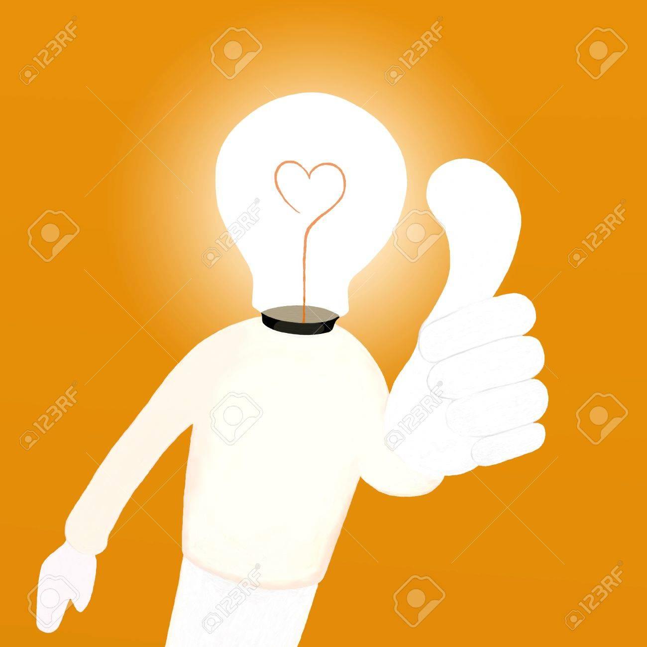 A funny cartoon of Light bulb man got a hot idea Stock Photo - 14430884