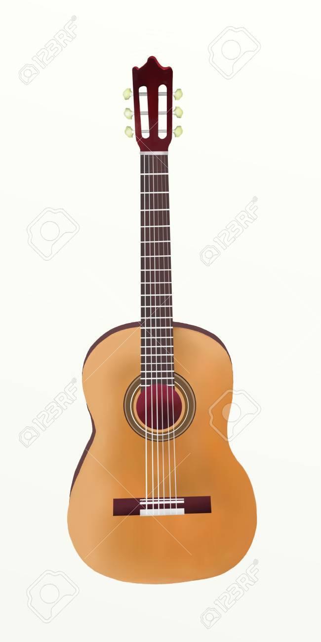 Dessin A La Main De Guitare Classique Unique Sur Fond Blanc Banque D Images Et Photos Libres De Droits Image 14508204