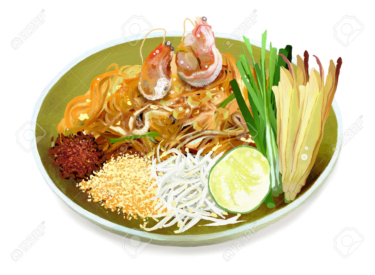 Pad Thai is a Dish of Stir Fried Rice Noodles with Eggs, Shrimps and Peanuts is a Famous Thai Cuisine - 14508291