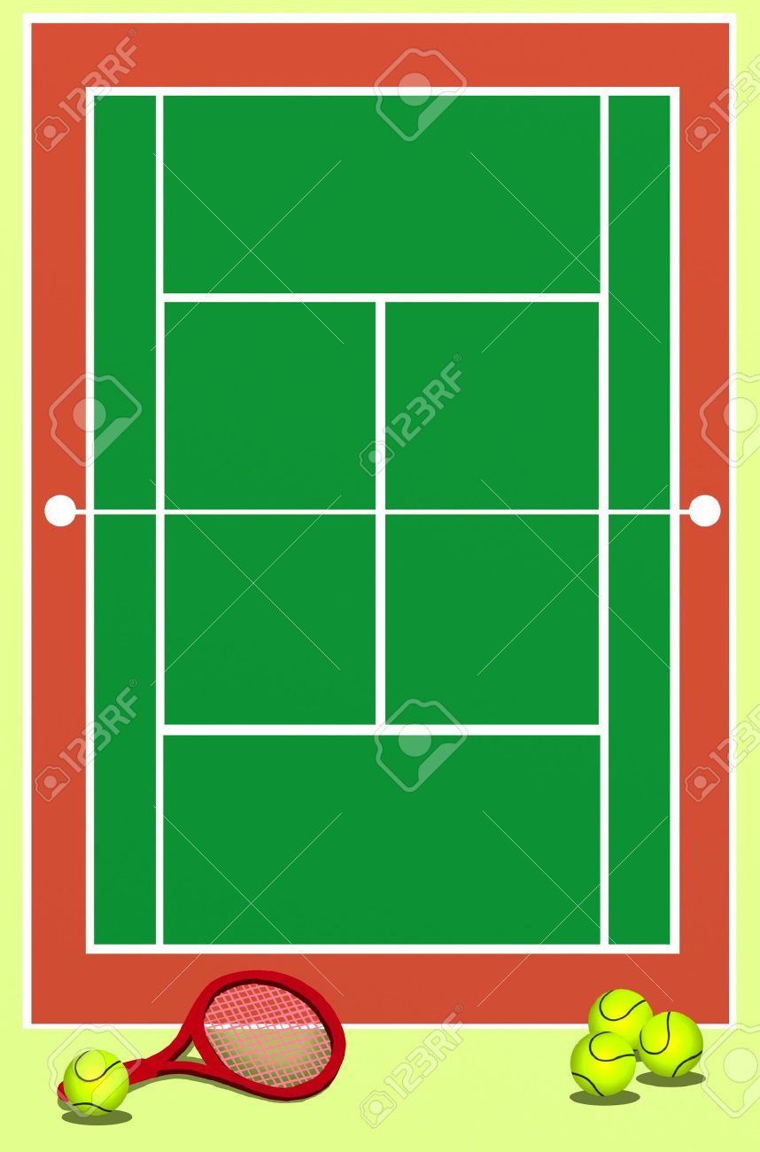 Background Of Green Tennis Field With Racket And Balls Stock Photo ...