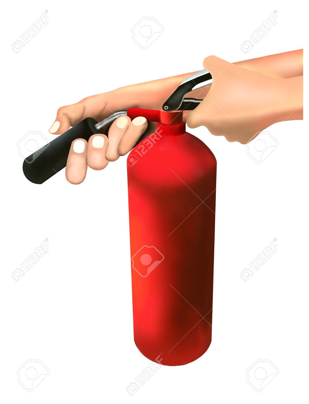A Man Putting out Fire with Fire Extinguishers Isolated on White Background - 14724724