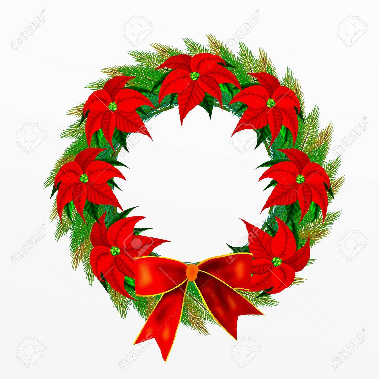 Christmas Wreath with Bow and Poinsettia Flowers Stock Photo - 14792308