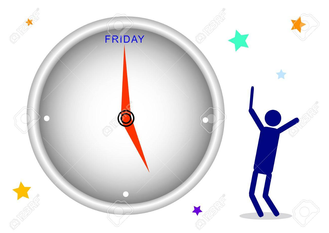 Cartoon Of A Happy Businessman Watching A Clock And Waiting Time