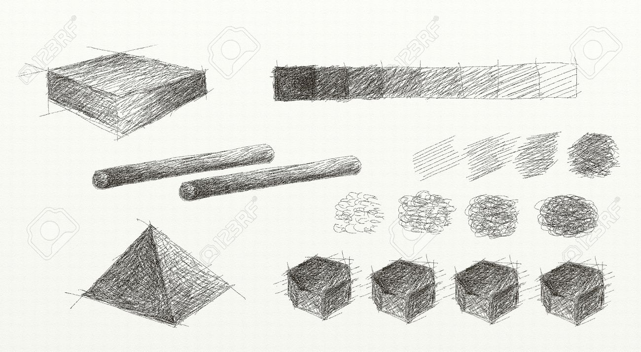 Hand Drawing Of Light And Shade, A Light Projected Onto An Object ...