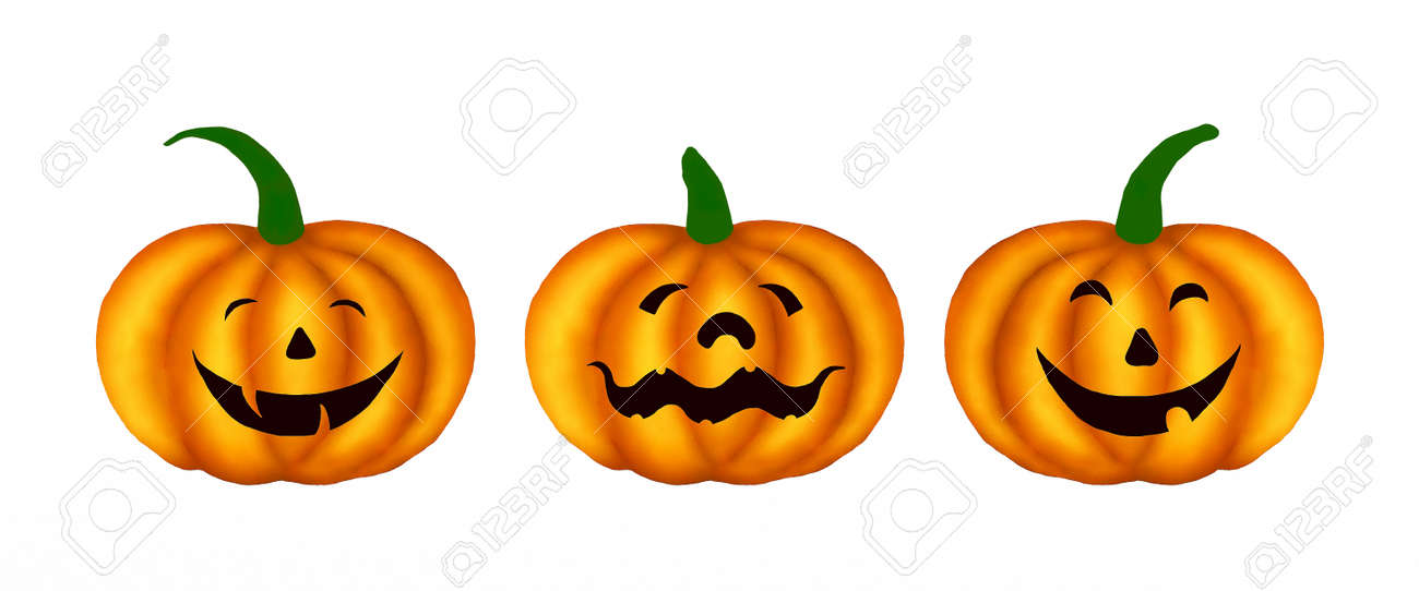 Three Happy Jack O Lantern Pumpkins With Different Faces Isolated