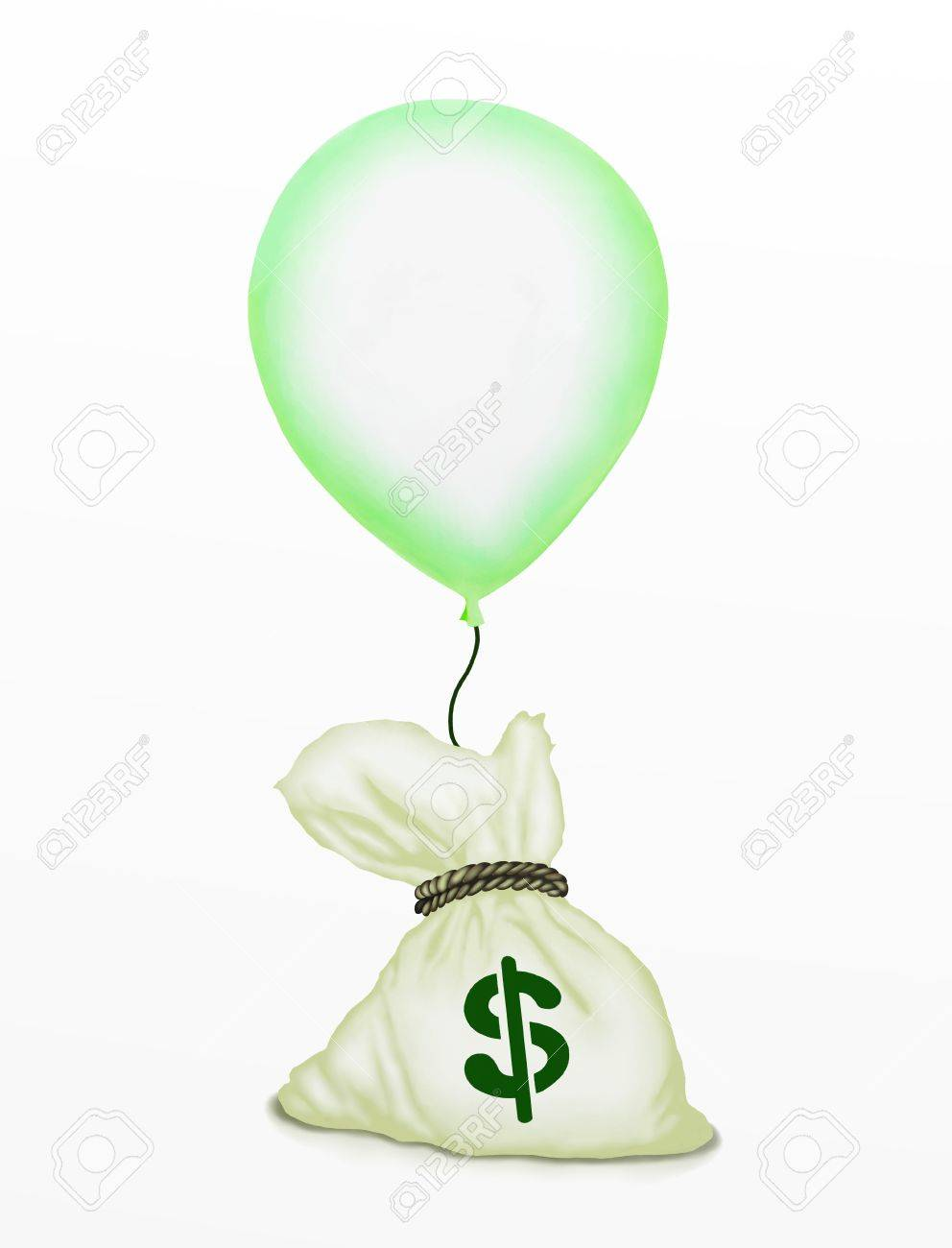Business Concept   Light Green Flying Balloons Lifting A Bag of Money in The Air, Isolated on White Background Stock Photo - 15618195