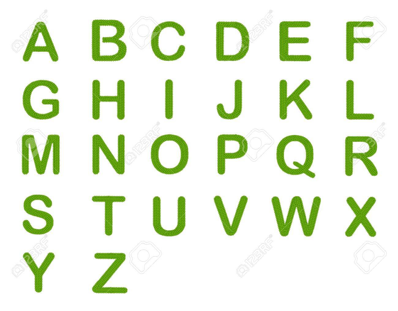 Letter A-Z, Alphabet Letters Made of Four Leaf Clover Isolated on White Background Stock Photo - 16010904