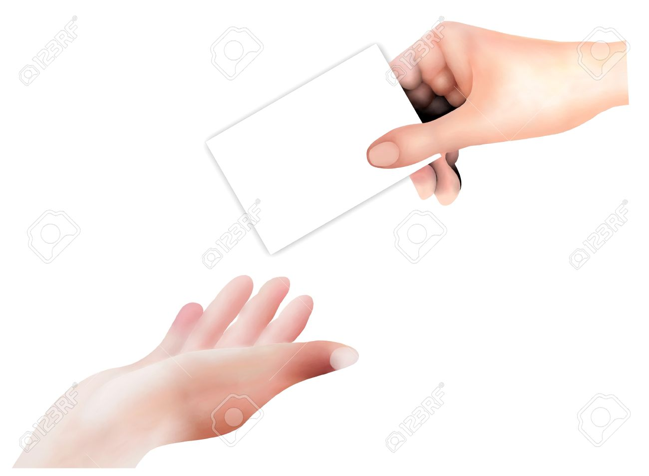 Hand Drawing, Person Open A Hand in The Air Receive An Empty Card From A Business Man Isolated on White Background Stock Photo - 16010906