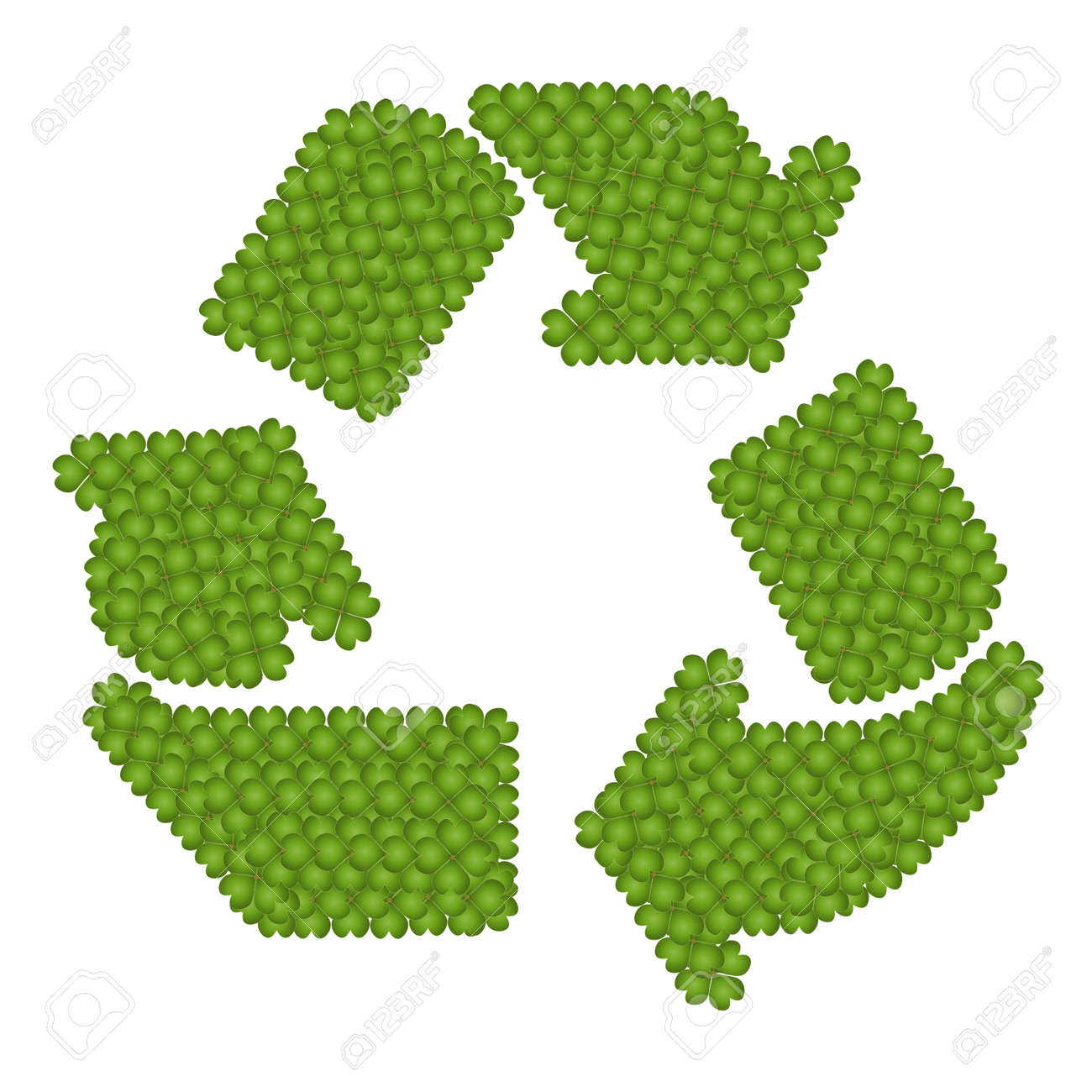 Ecology Concept, Fresh Green Four Leaf Clover Forming in The  Recycling Sign Isolated on White Background Stock Photo - 16119466