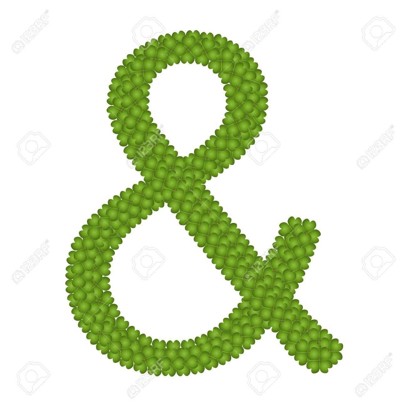 ecology concept fresh green four leaf clover forming ampersand