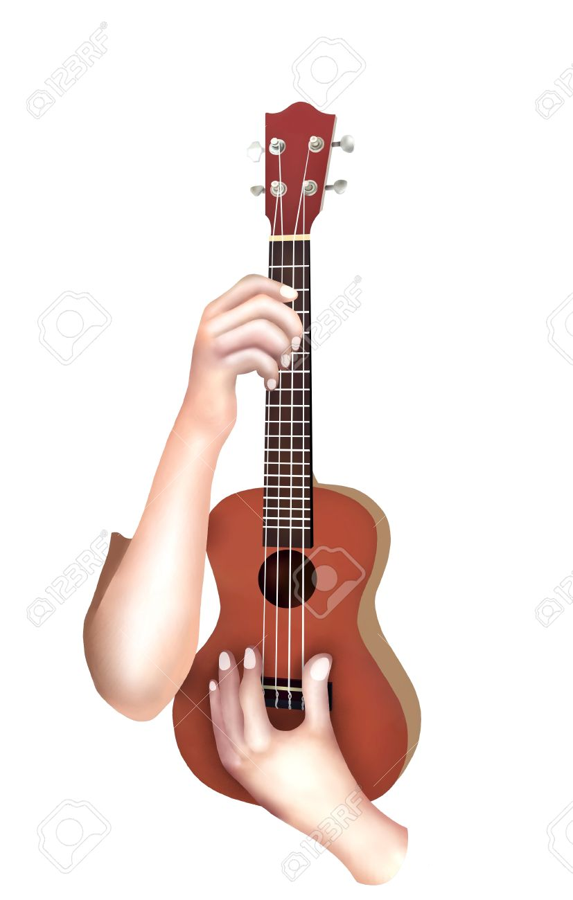 Hand Drawing Musician Holding And Playing A Cute Modern Brown Color Hawaii Ukulele Guitar
