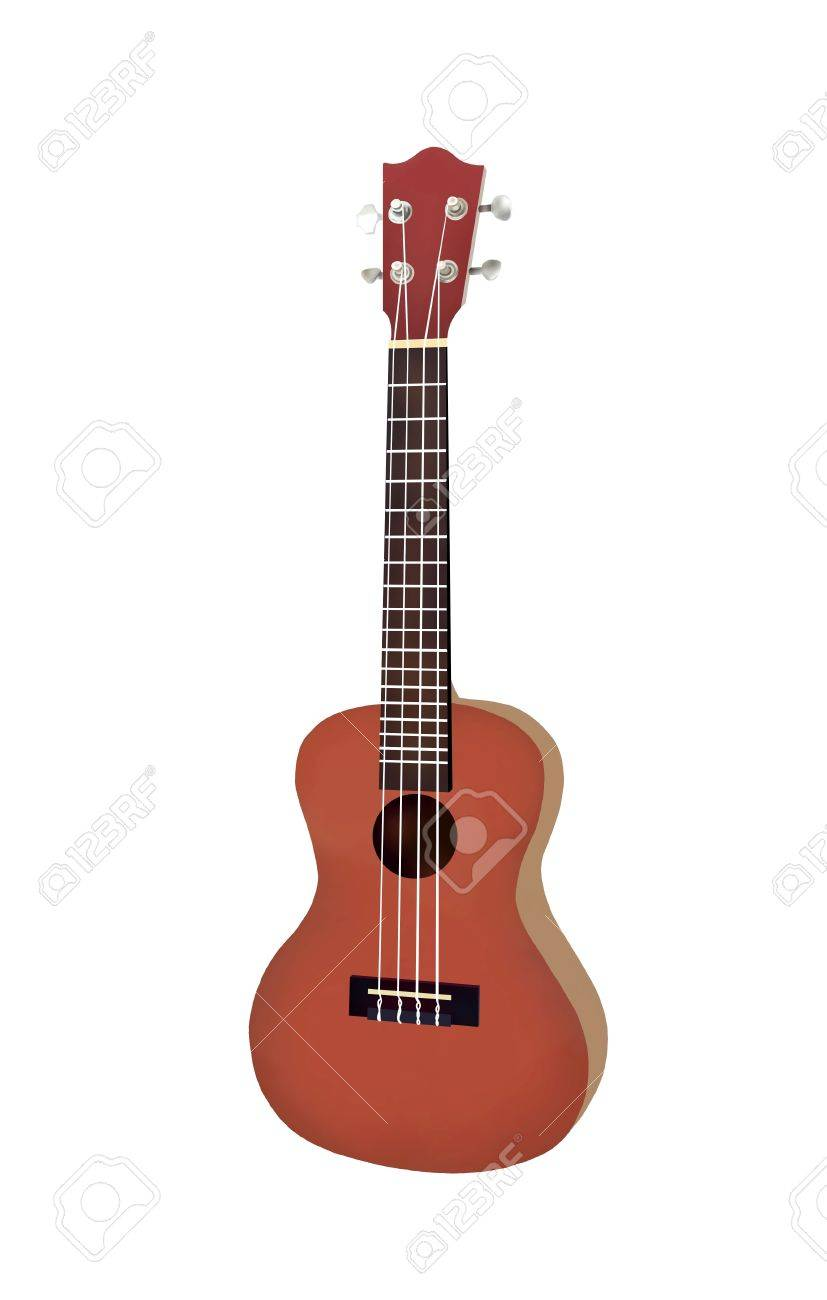 Hand Drawing Of Modern Brown Color Hawaii Ukulele Guitar A Small And Four