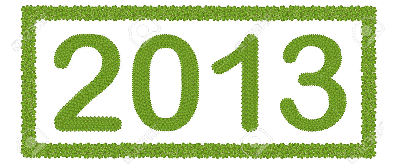 New Year 2013, Made of Four Leaf Clover in Rectangle Horizontal Frame Isolated on White Background Stock Photo - 16535834